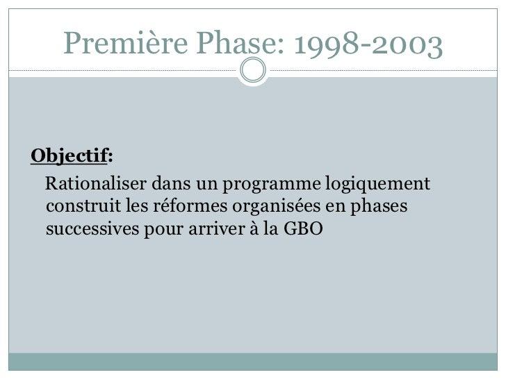 Première Phase: 1998-2003Objectif: Rationaliser dans un programme logiquement construit les réformes organisées en phases ...