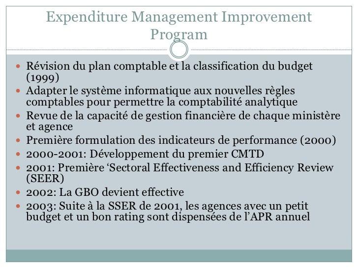 Expenditure Management Improvement                     Program Révision du plan comptable et la classification du budget ...