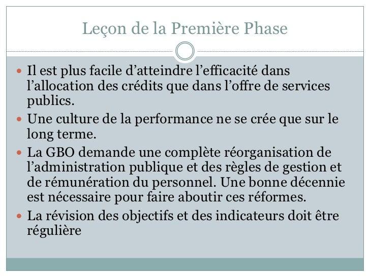 Leçon de la Première Phase Il est plus facile d'atteindre l'efficacité dans  l'allocation des crédits que dans l'offre de...