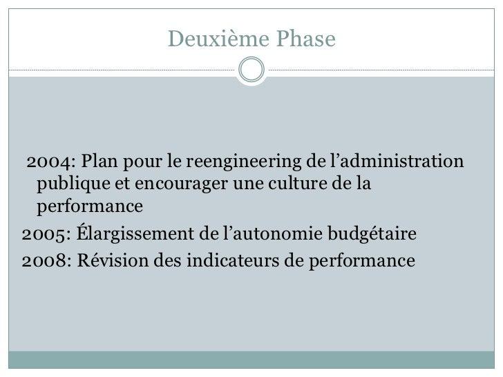 Deuxième Phase2004: Plan pour le reengineering de l'administration publique et encourager une culture de la performance200...