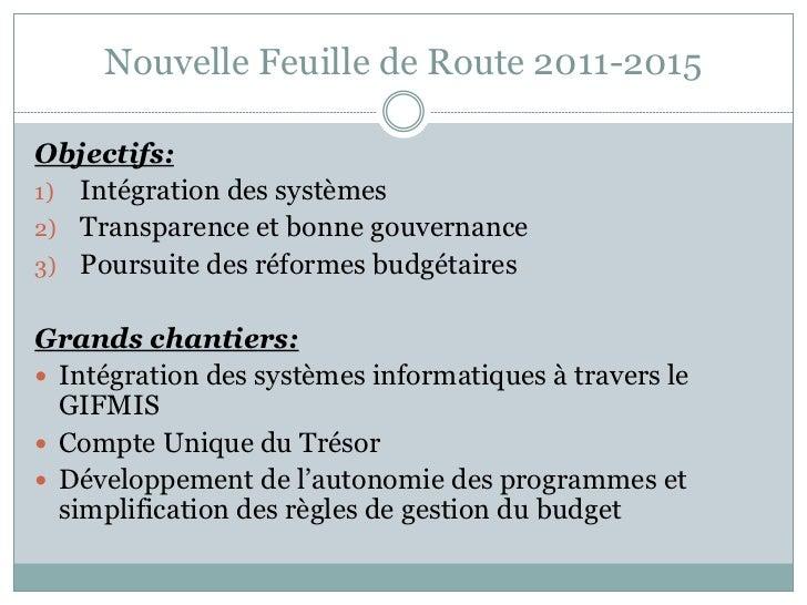 Nouvelle Feuille de Route 2011-2015Objectifs:1) Intégration des systèmes2) Transparence et bonne gouvernance3) Poursuite d...