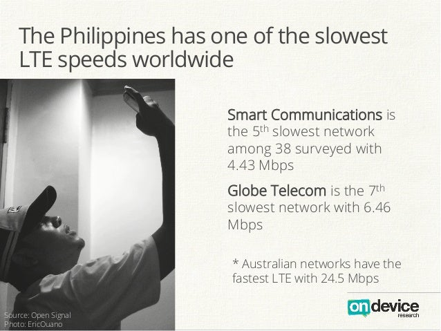 The Philippines has one of the slowest LTE speeds worldwide Smart Communications is the 5th slowest network among 38 surve...