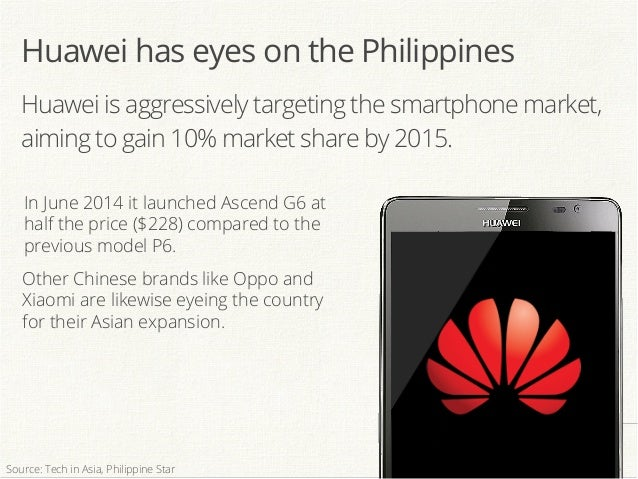 Huawei is aggressively targeting the smartphone market, aiming to gain 10% market share by 2015. In June 2014 it launched ...