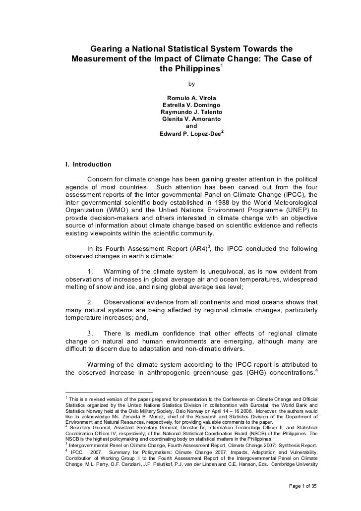 Gearing a National Statistical System Towards the    Measurement of the Impact of Climate Change: The Case of             ...