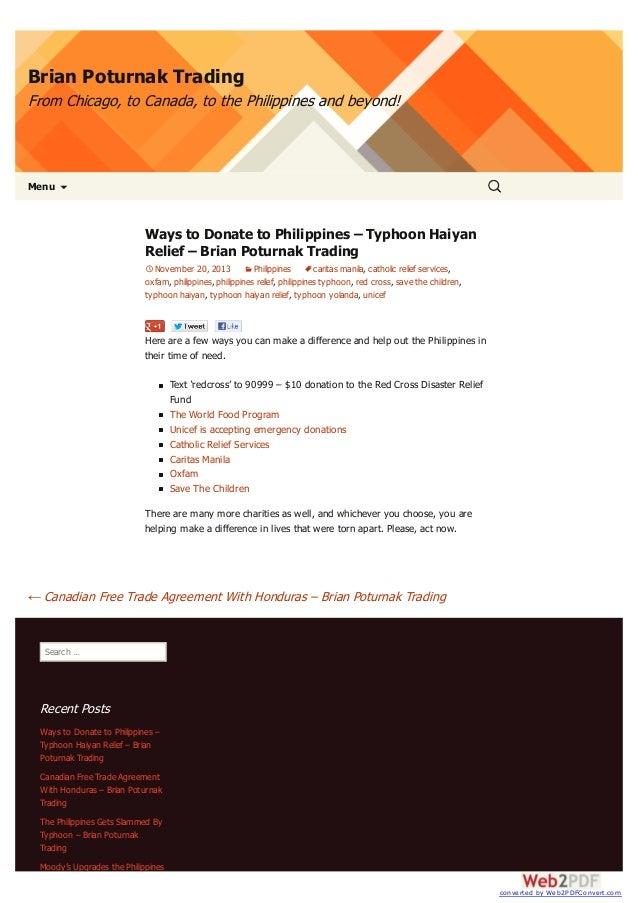 Philippines Typhoon Relief Brian Poturnak Trading