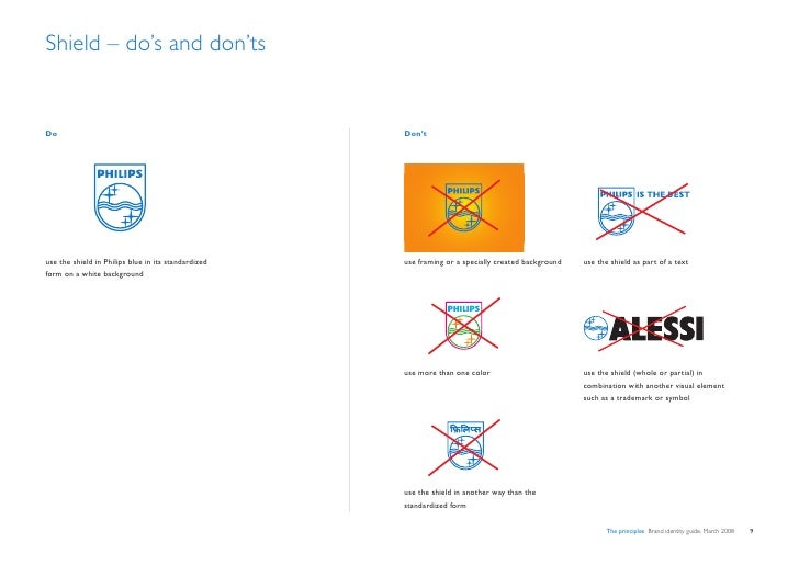 Shield – do's and don'ts   Do                                                   Don't     use the shield in Philips blue i...