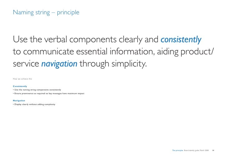 Naming string – principle    Use the verbal components clearly and consistently to communicate essential information, aidi...