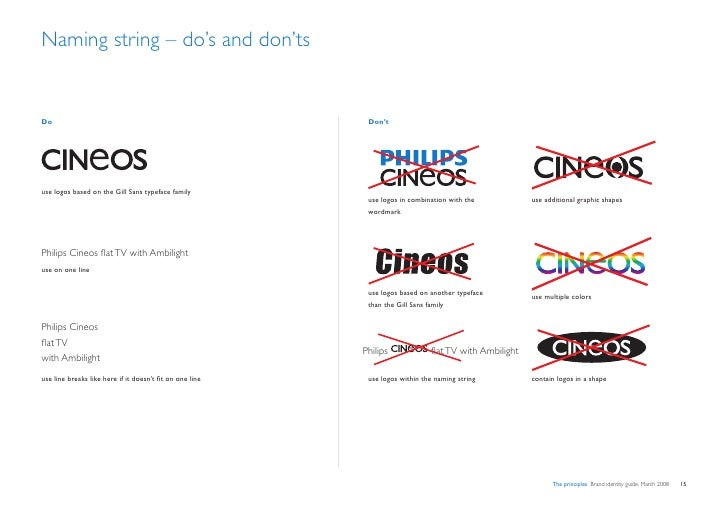Naming string – do's and don'ts   Do                                                         Don't     use logos based on ...