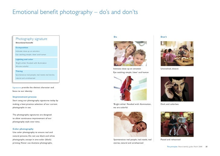 Emotional benefit photography – do's and don'ts                                                            Do             ...