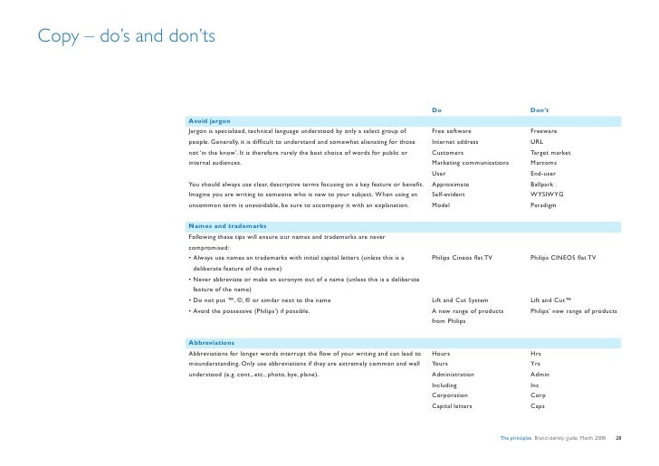 Copy – do's and don'ts                                                                                                    ...