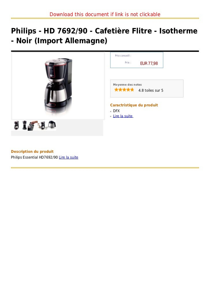 philips hd 7692 90 cafeti re flitre isotherme noir import a. Black Bedroom Furniture Sets. Home Design Ideas