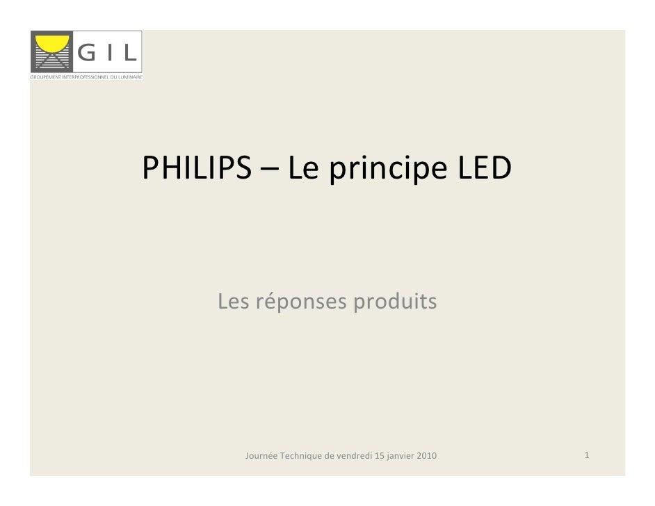 PHILIPS– LeprincipeLED        Lesréponsesproduits            JournéeTechniquedevendredi15janvier2010   1