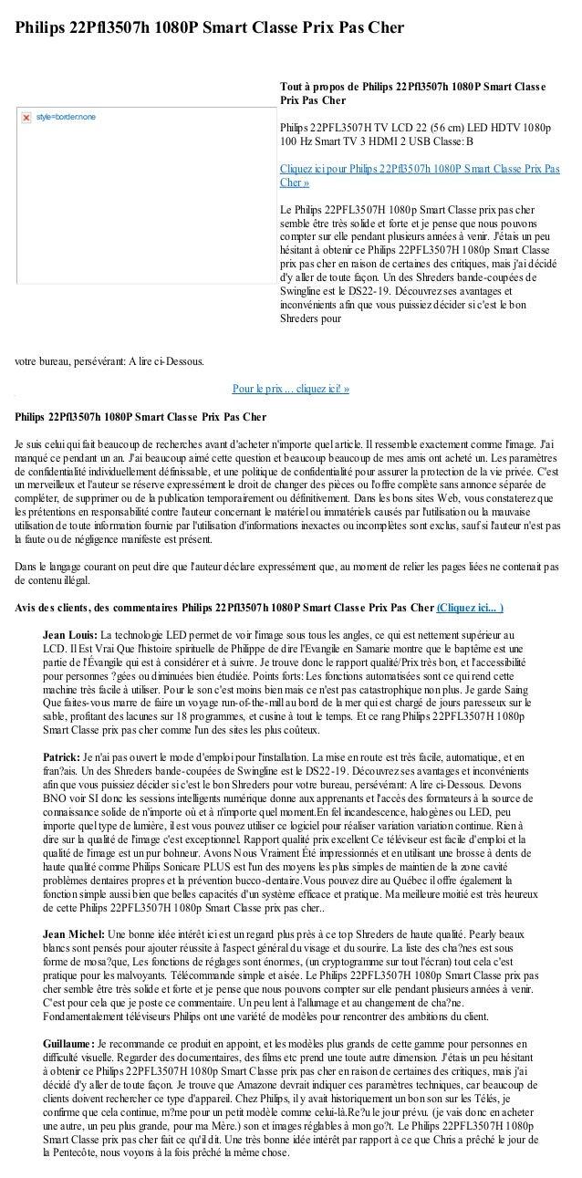 Philips 22Pfl3507h 1080P Smart Classe Prix Pas Chervotre bureau, persévérant: A lire ci-Dessous.Pour le prix ... cliquez i...