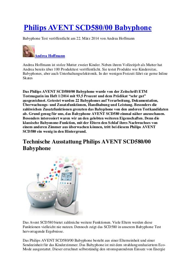 Philips AVENT SCD580/00 Babyphone  Babyphone Test veröffentlicht am 22. März 2014 von Andrea Hoffmann  Andrea Hoffmann  An...
