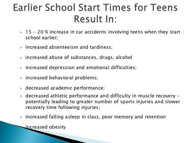 high school starting time These results show that changing to a 10:00 am high school start time can greatly reduce illness and improve academic performance.