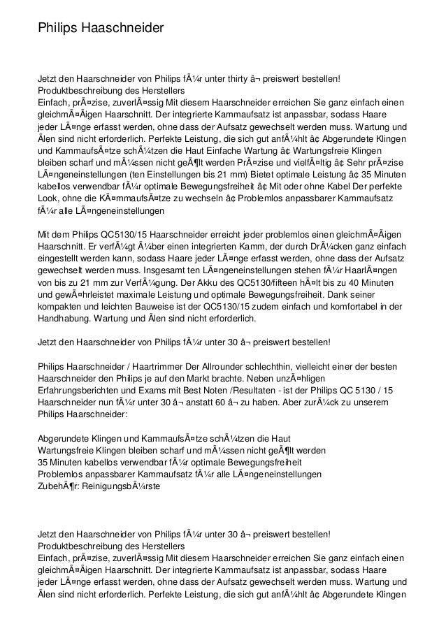 Philips HaaschneiderJetzt den Haarschneider von Philips für unter thirty ⬠preiswert bestellen!Produktbeschreibung des H...