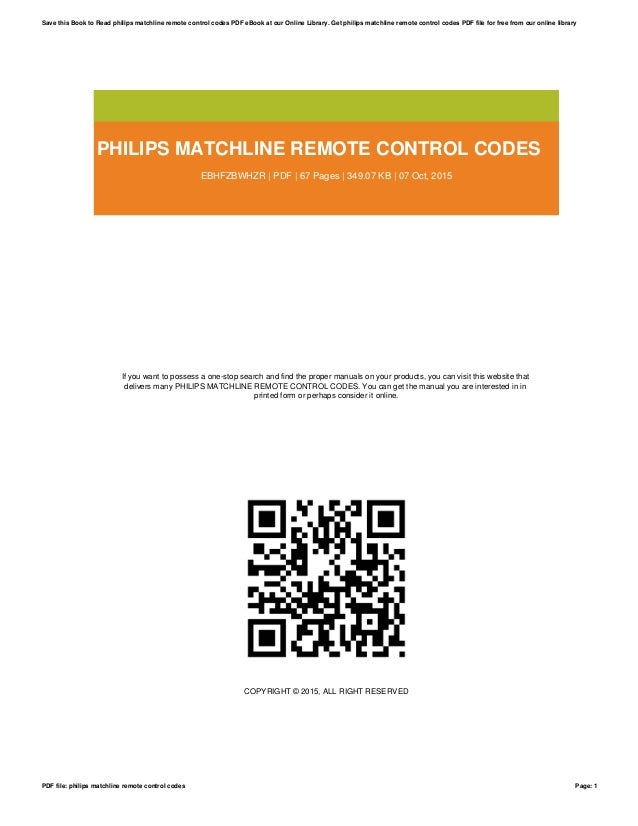 Philips matchline remote control codes