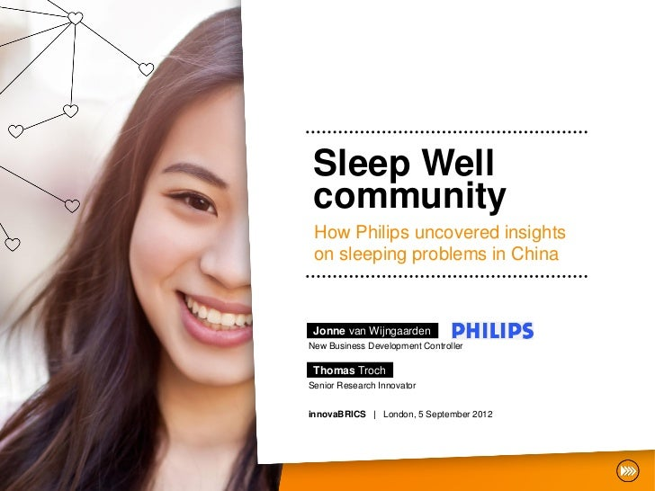 Sleep Well community How Philips uncovered insights on sleeping problems in China Jonne van WijngaardenNew Business Develo...