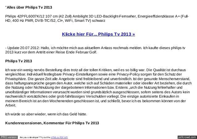 """Alles über Philips Tv 2013  Philips 42PFL6007K/12 107 cm (42 Zoll) Ambilight 3D LED-Backlight-Fernseher, Energieeffizienz..."