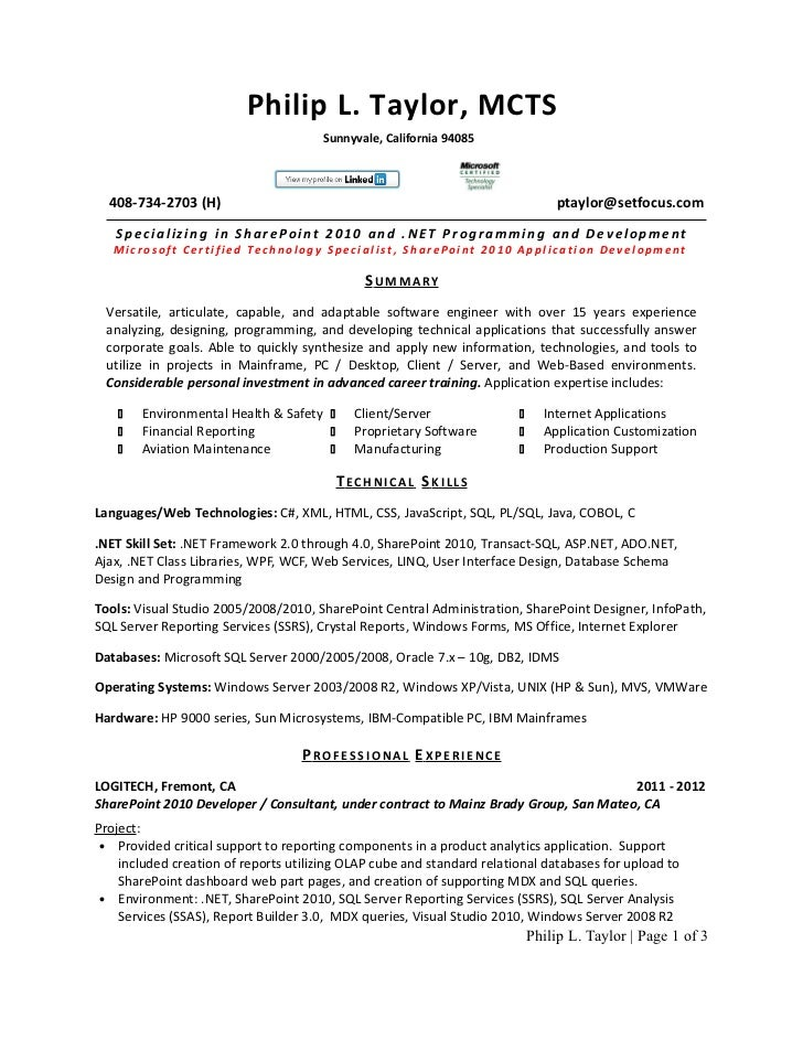 Philip Taylor Resume Slideshare. Asp Net C Resume Sample Developer