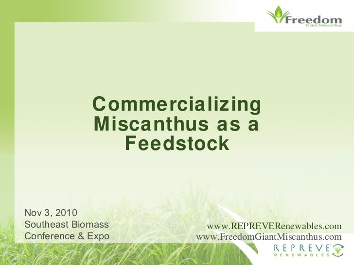 Commercializing Miscanthus as a Feedstock www.REPREVERenewables.com www.FreedomGiantMiscanthus.com Nov 3, 2010 Southeast B...