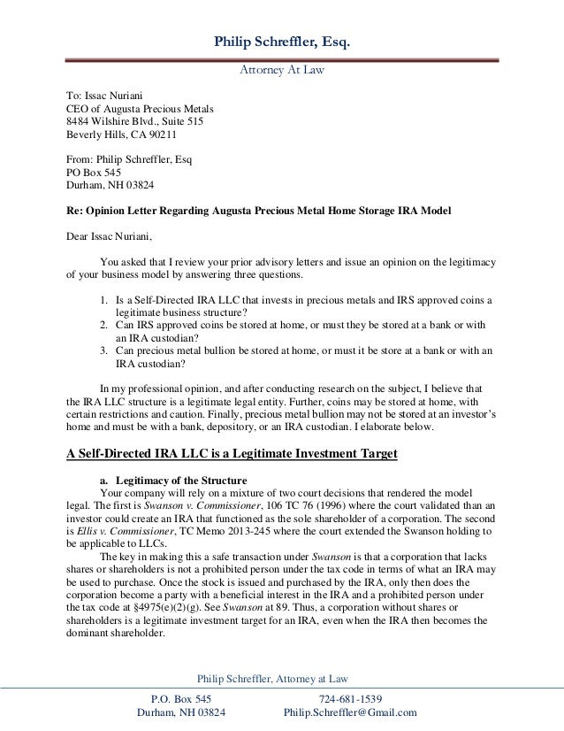 attorney opinion letter mortgage home delivery gold ira attorney opinion letter to 18664 | home delivery gold ira attorney opinion letter to augusta precious metals 1 638