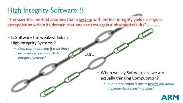 "2 High Integrity Software !?   ..Or.. ""ThescienNficmethodassumesthatasystemwithperfectintegrityyieldsasingu..."