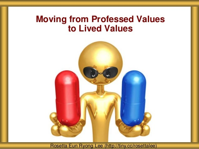 Moving from Professed Values to Lived Values Rosetta Eun Ryong Lee (http://tiny.cc/rosettalee)