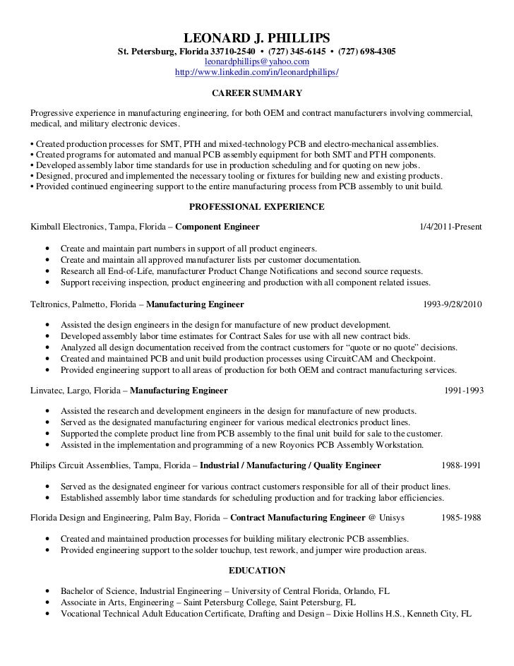 Electronic Assembler Resume. phillips leonard resume. assembly ...