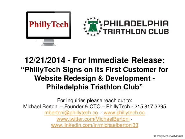 "12/21/2014 - For Immediate Release: ""PhillyTech Signs on its First Customer for Website Redesign & Development - Philadelp..."