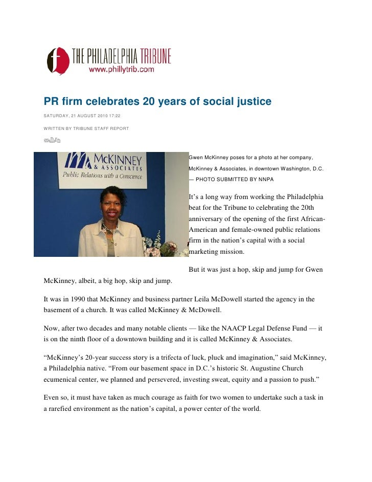 PR firm celebrates 20 years of social justice SATURDAY, 21 AUGUST 2010 17:22  WRITTEN BY TRIBUNE STAFF REPORT             ...