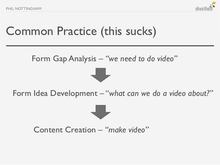 "PHIL NOTTINGHAMCommon Practice (this sucks)          Form Gap Analysis – ""we need to do video""  Form Idea Development – ""w..."