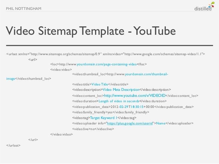 "PHIL NOTTINGHAMVideo Sitemap Template - YouTube<urlset xmlns=""http://www.sitemaps.org/schemas/sitemap/0.9"" xmlns:video=""ht..."