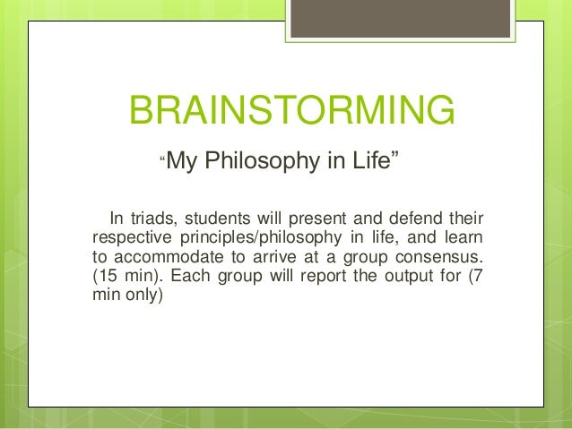 sample philosophy in life as a students
