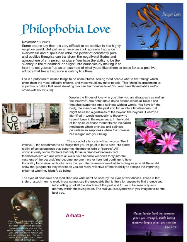 Philophobia Love  November 8, 2020  Some people say that it is very difficult to be positive in this highly negative world. ...
