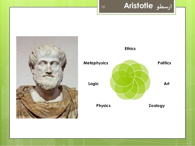 10 Aristotle ارسطو  Ethics  Politics  Art  Metaphysics  Logic  Physics Zoology