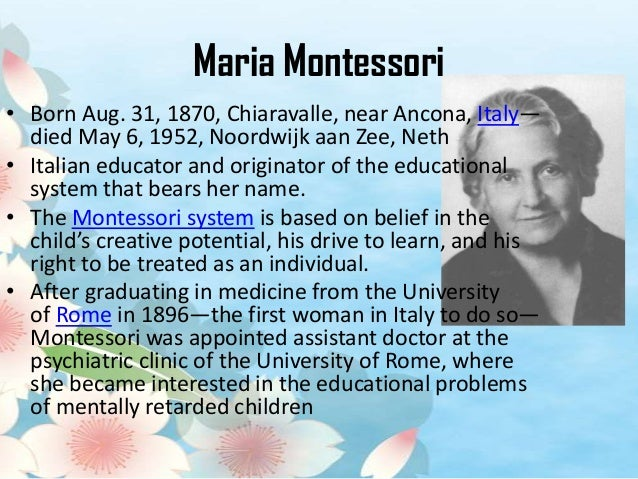 Essay about maria montessori philosophy