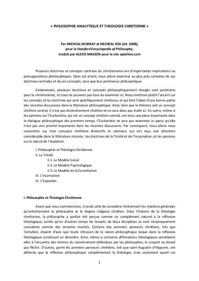 1 « PHILOSOPHIE ANALYTIQUE ET THEOLOGIE CHRETIENNE » Par MICHEAL MURRAY et MICHEAL REA (éd. 2008), pour la Stanford Encycl...
