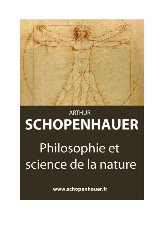 Arthur Schopenhauer Philosophie et science de la nature Parerga et Paralipomena  Traduit par Auguste Dietrich, 1911  Numér...