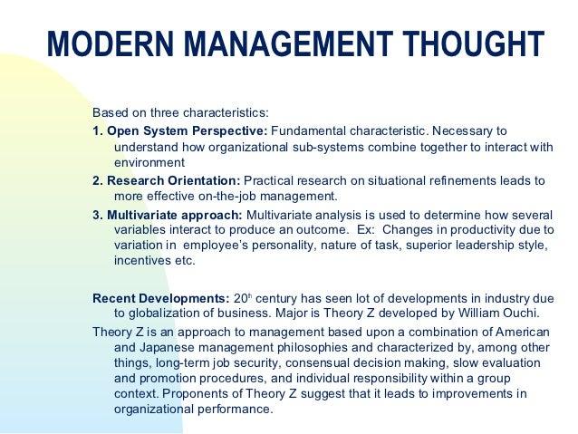 A Modern Day Management Approach