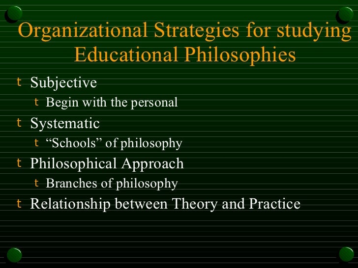 a personal approach to the philosophy of education A philosophical framework, often called your philosophy of education, is simply, what you believe about the educational process, and how you plan to approach your classroom/students given what you believe.