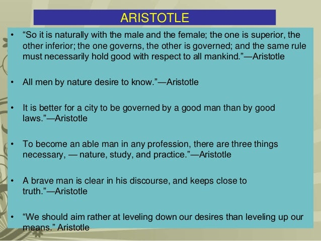 the aim of man by aristotle