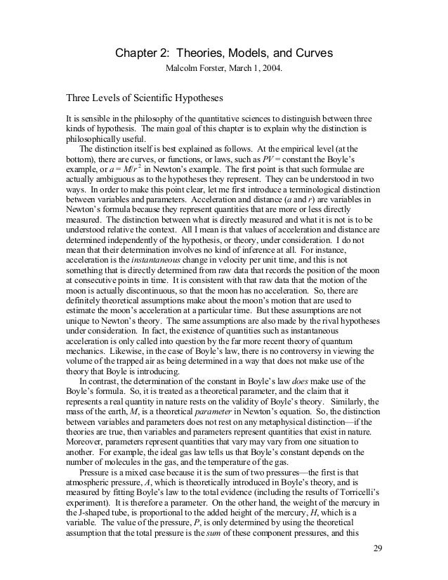 Chapter 2: Theories, Models, and Curves Malcolm Forster, March 1, 2004.  Three Levels of Scientific Hypotheses It is sensi...