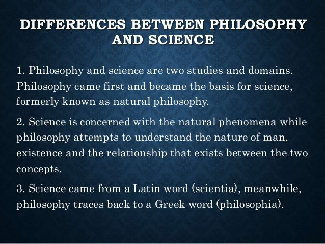 the relationship between science and philosophy