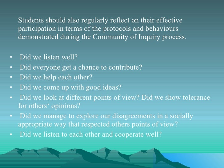 <ul><li>Students should also regularly reflect on their effective participation in terms of the protocols and behaviours d...