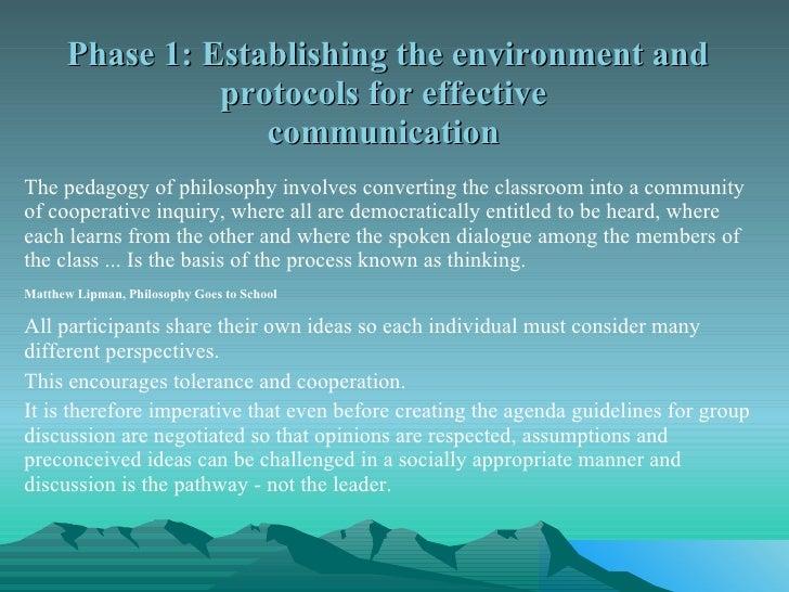 Phase 1: Establishing the environment and protocols for effective  communication  <ul><li>The pedagogy of philosophy invol...