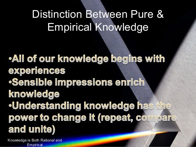 "distinction between pure and empirical knowledge Empirical research contains empirical data ""the differences between theoretical and empirical between the theoretical and empirical poles of knowledge."