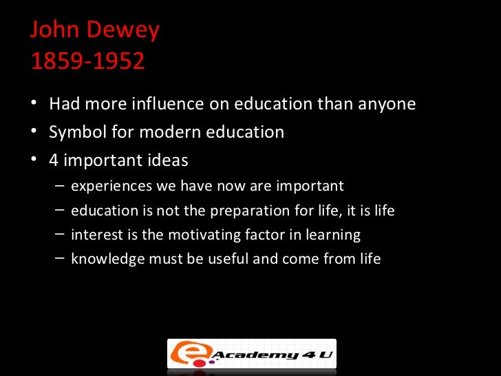 john dewey and early childhood education 1 introduction reading democracy and education david t hansen what is john dewey's democracy and education in a literal sense, it is a study of education and its relation to the individual and society.