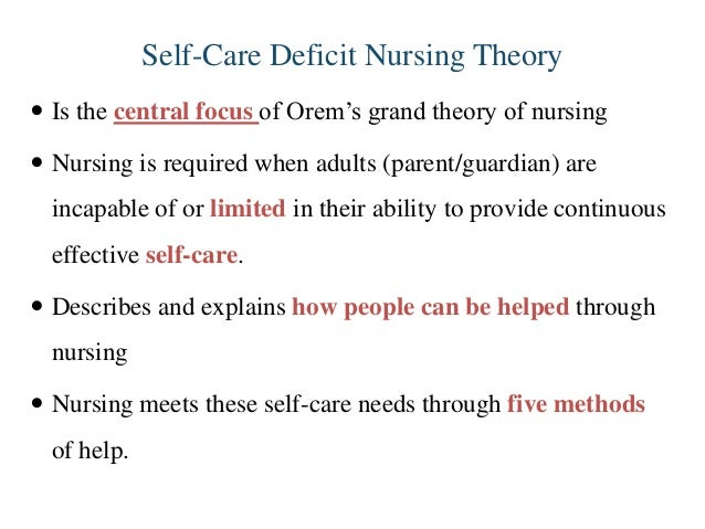 implications of self care deficit Orem's self-care theory: a tool for education and practice gail wagnild dorothea orem's self-care deficit theory implications the results of this.