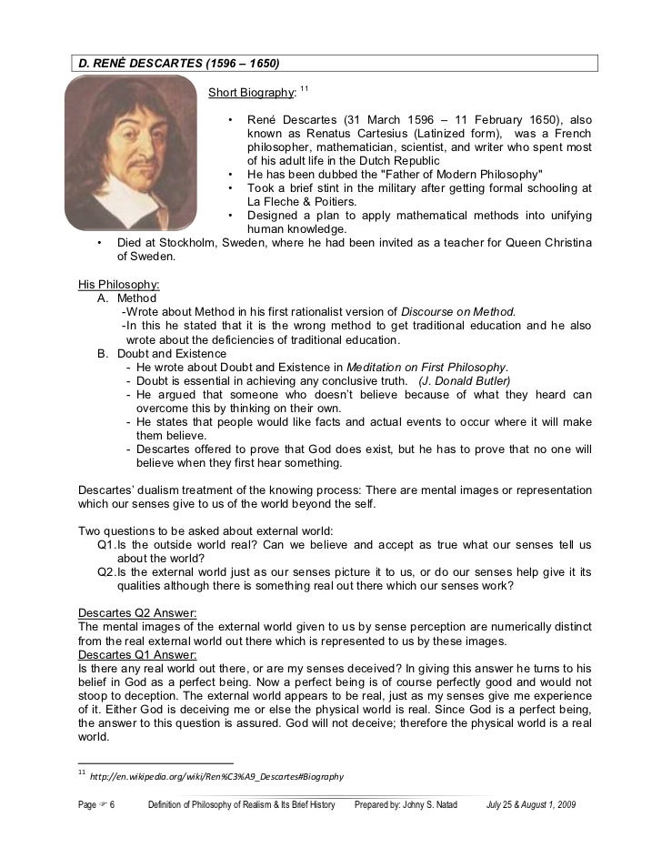 essay on descartes Mla style essay reflection on descartes 1 surname 1name:university:course:tutor:date: reflection on descartes' meditation one introduction this essay is a reflection on descartes' meditation.